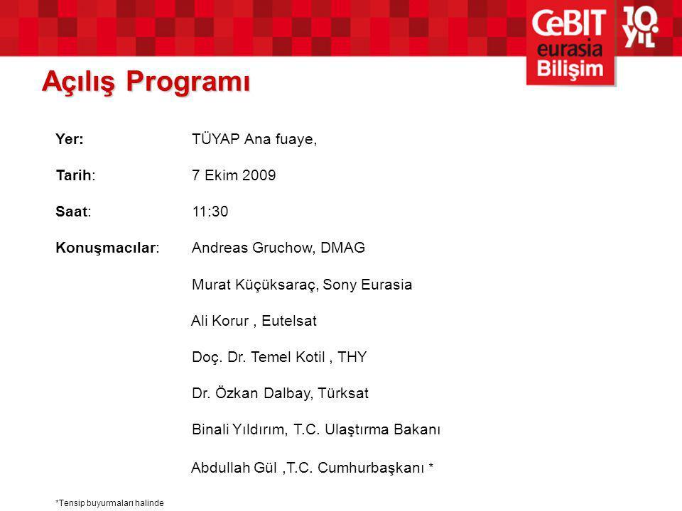 Açılış Programı Yer:TÜYAP Ana fuaye, Tarih:7 Ekim 2009 Saat:11:30 Konuşmacılar:Andreas Gruchow, DMAG Murat Küçüksaraç, Sony Eurasia Ali Korur, Eutelsat Doç.
