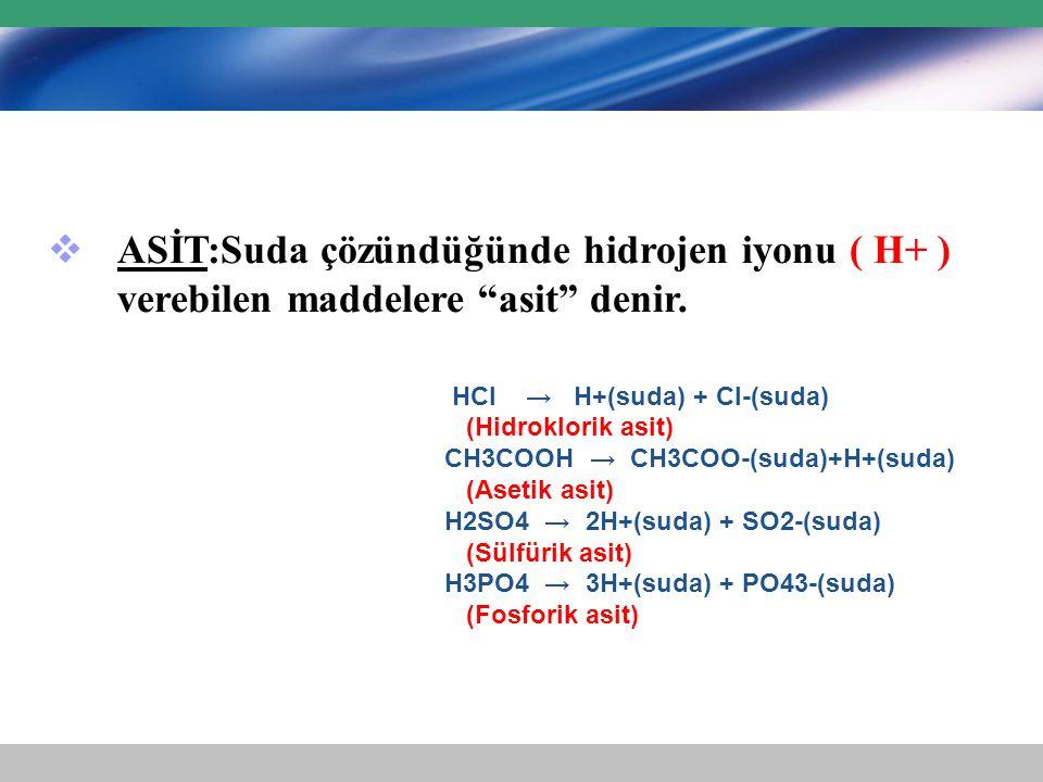 """ ASİT:Suda çözündüğünde hidrojen iyonu ( H+ ) verebilen maddelere """"asit"""" denir. HCl → H+(suda) + Cl-(suda) (Hidroklorik asit) CH3COOH → CH3COO-(suda)"""