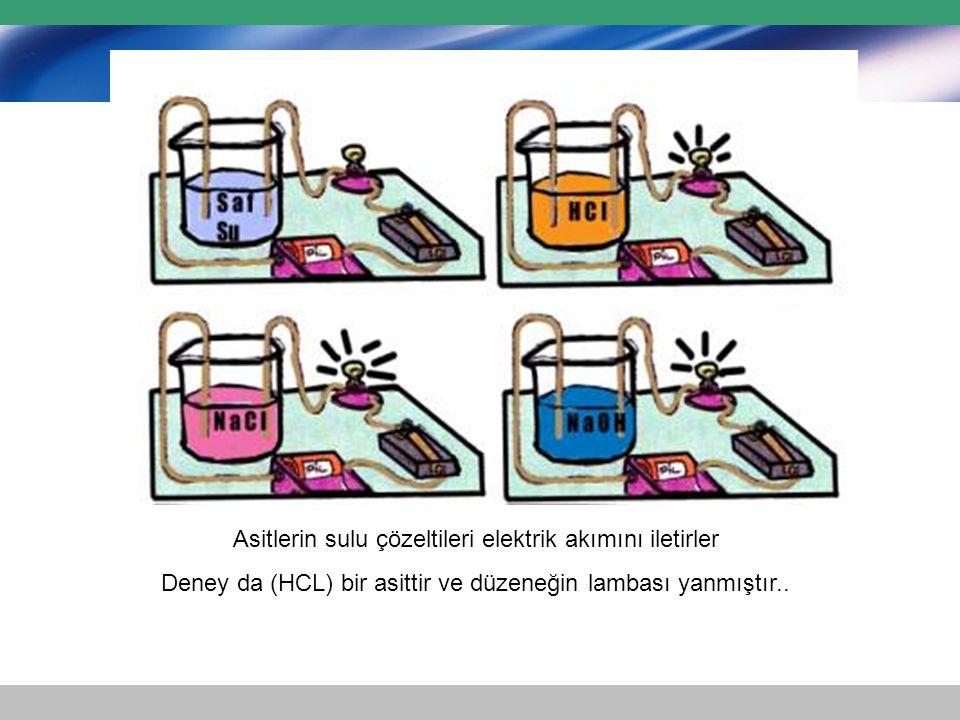 Asitlerin sulu çözeltileri elektrik akımını iletirler Deney da (HCL) bir asittir ve düzeneğin lambası yanmıştır..