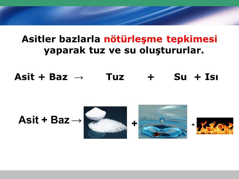 Asitler bazlarla nötürleşme tepkimesi yaparak tuz ve su oluştururlar. Asit + Baz → Tuz + Su + Isı Asit + Baz→ + +