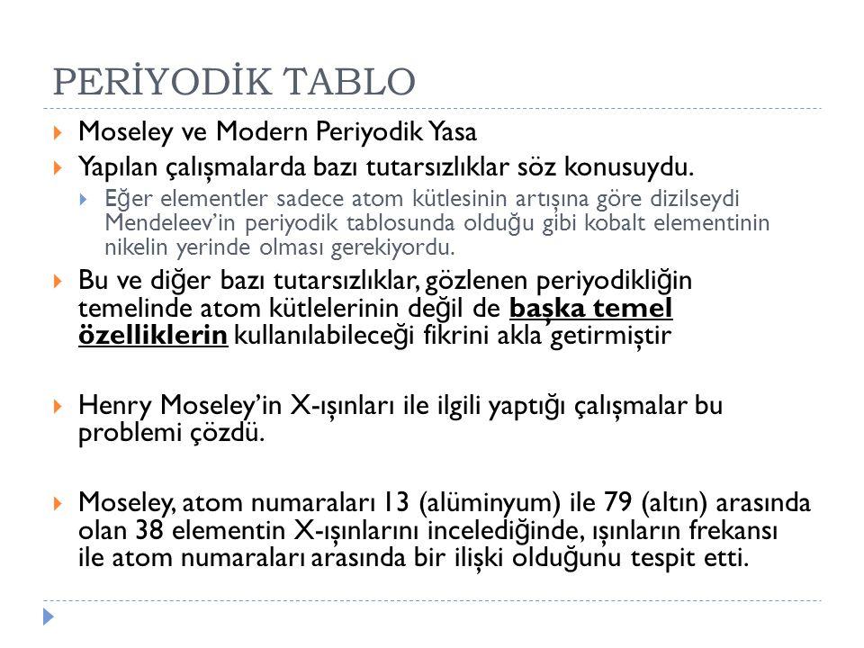 PERİYODİK TABLO  Moseley ve Modern Periyodik Yasa  Yapılan çalışmalarda bazı tutarsızlıklar söz konusuydu.  E ğ er elementler sadece atom kütlesini