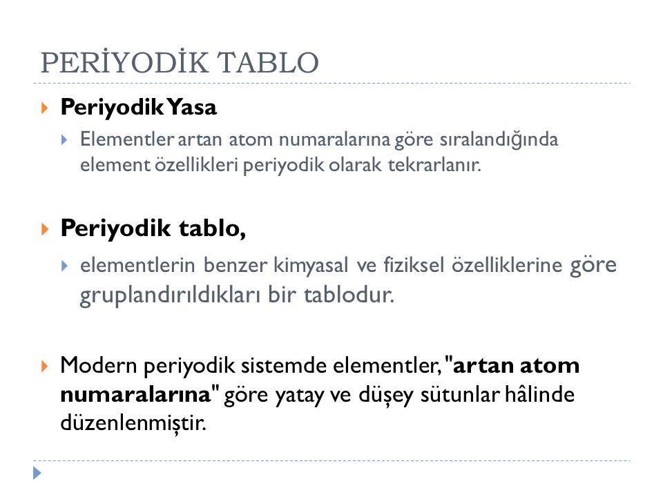 PERİYODİK TABLO  Periyodik Yasa  Elementler artan atom numaralarına göre sıralandı ğ ında element özellikleri periyodik olarak tekrarlanır.  Periyo