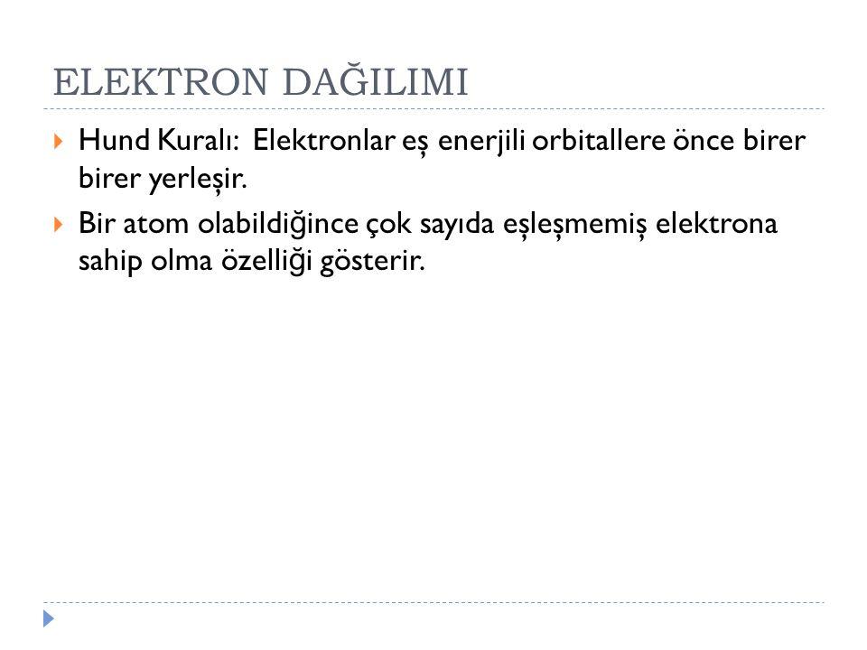 ELEKTRON DAĞILIMI  Hund Kuralı: Elektronlar eş enerjili orbitallere önce birer birer yerleşir.  Bir atom olabildi ğ ince çok sayıda eşleşmemiş elekt