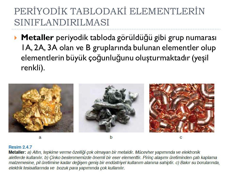  Metaller periyodik tabloda görüldü ğ ü gibi grup numarası 1A, 2A, 3A olan ve B gruplarında bulunan elementler olup elementlerin büyük ço ğ unlu ğ un