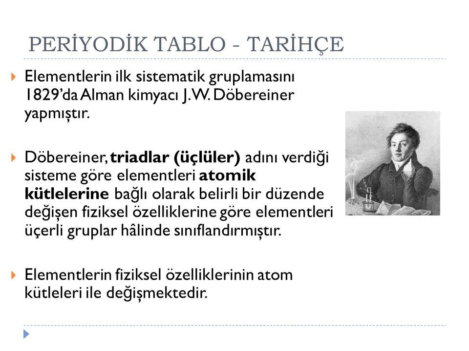 PERİYODİK TABLO - TARİHÇE  Elementlerin ilk sistematik gruplamasını 1829'da Alman kimyacı J.W. Döbereiner yapmıştır.  Döbereiner, triadlar (üçlüler)