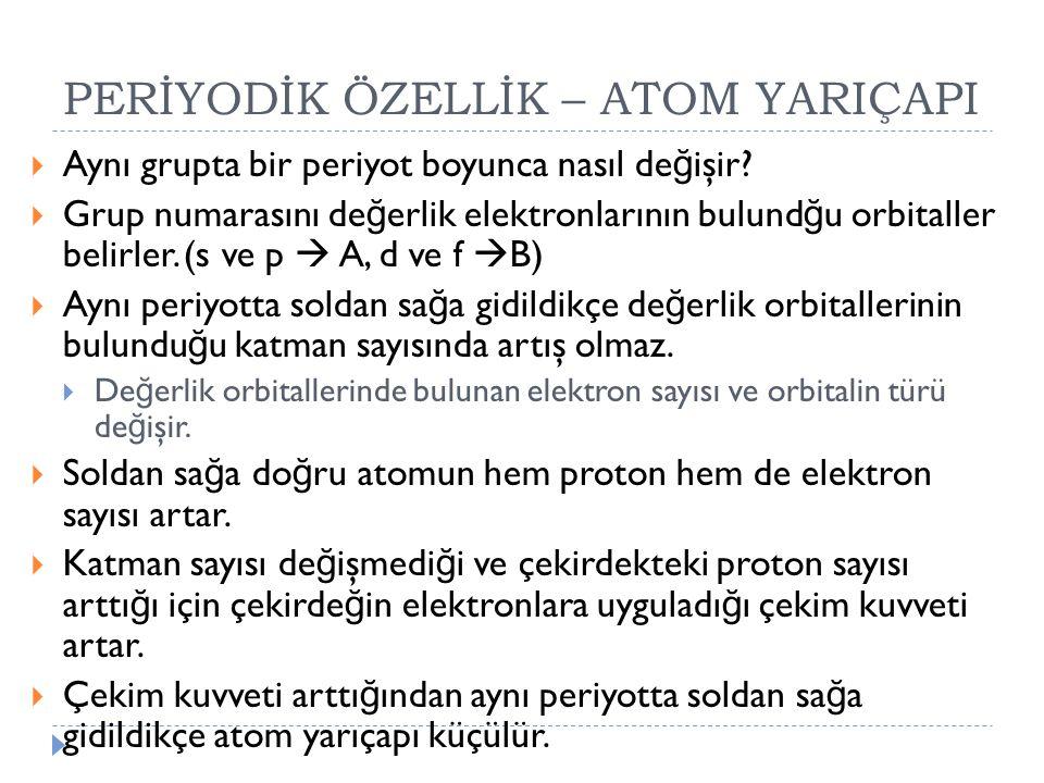 PERİYODİK ÖZELLİK – ATOM YARIÇAPI  Aynı grupta bir periyot boyunca nasıl de ğ işir?  Grup numarasını de ğ erlik elektronlarının bulund ğ u orbitalle