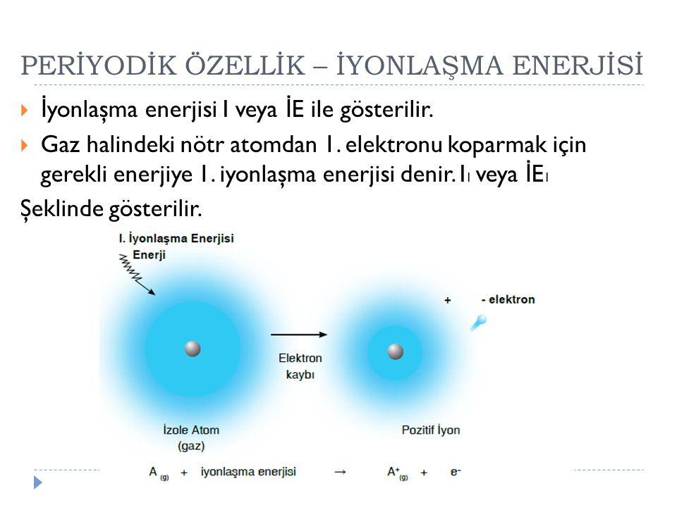 PERİYODİK ÖZELLİK – İYONLAŞMA ENERJİSİ  İ yonlaşma enerjisi I veya İ E ile gösterilir.  Gaz halindeki nötr atomdan 1. elektronu koparmak için gerekl