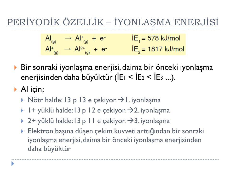 PERİYODİK ÖZELLİK – İYONLAŞMA ENERJİSİ  Bir sonraki iyonlaşma enerjisi, daima bir önceki iyonlaşma enerjisinden daha büyüktür ( İ E 1 < İ E 2 < İ E 3