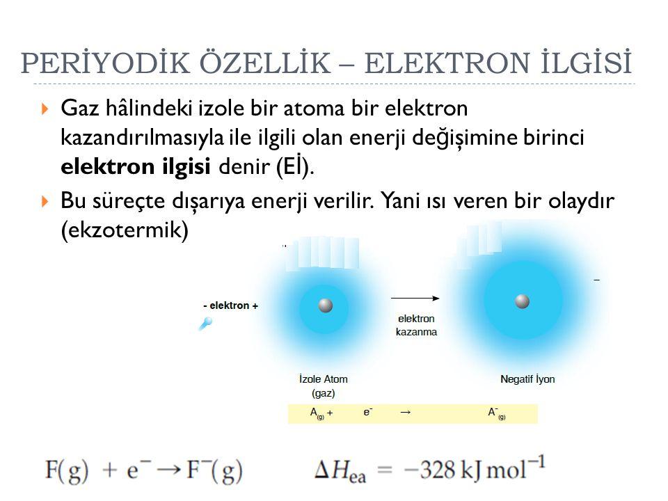 PERİYODİK ÖZELLİK – ELEKTRON İLGİSİ  Gaz hâlindeki izole bir atoma bir elektron kazandırılmasıyla ile ilgili olan enerji de ğ işimine birinci elektro
