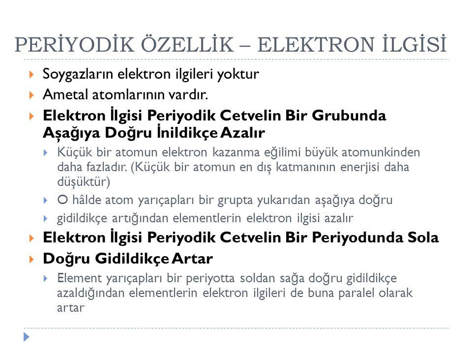 PERİYODİK ÖZELLİK – ELEKTRON İLGİSİ  Soygazların elektron ilgileri yoktur  Ametal atomlarının vardır.  Elektron İ lgisi Periyodik Cetvelin Bir Grub