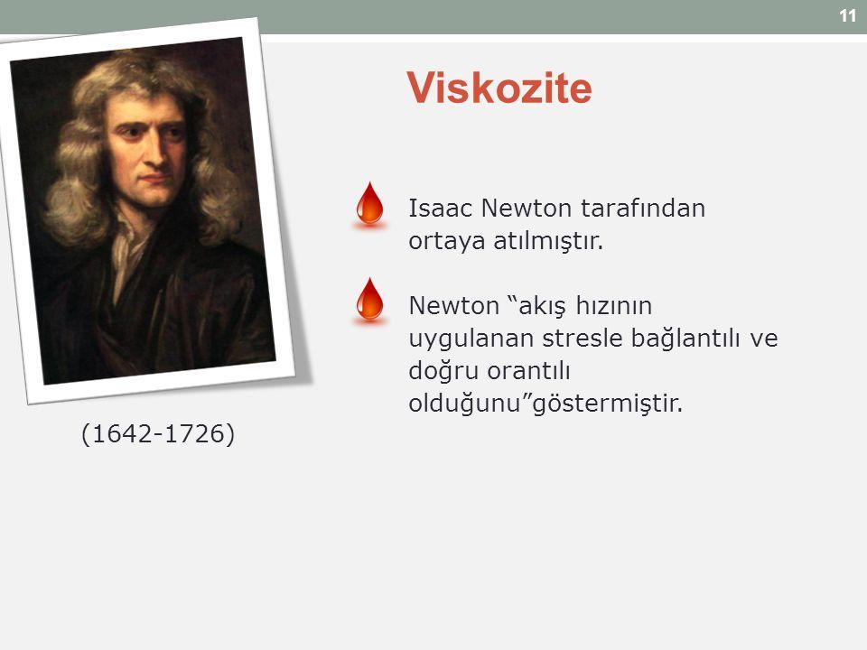 """Viskozite Isaac Newton tarafından ortaya atılmıştır. Newton """"akış hızının uygulanan stresle bağlantılı ve doğru orantılı olduğunu""""göstermiştir. (1642-"""