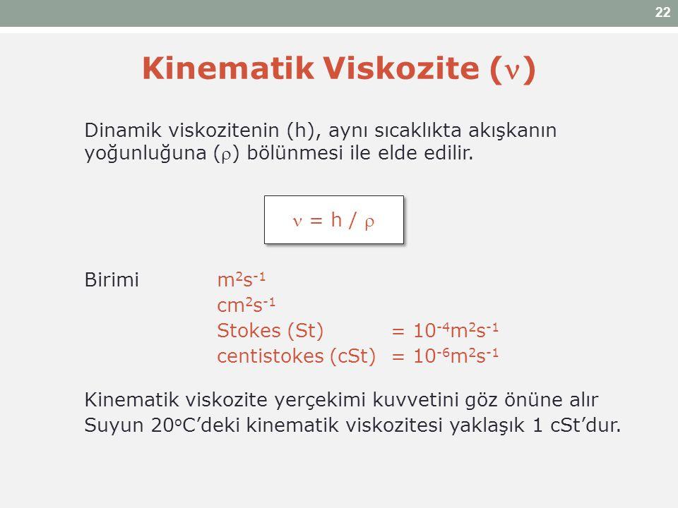 Kinematik Viskozite () Dinamik viskozitenin (h), aynı sıcaklıkta akışkanın yoğunluğuna () bölünmesi ile elde edilir. Birimi m 2 s -1 cm 2 s -1 Stokes