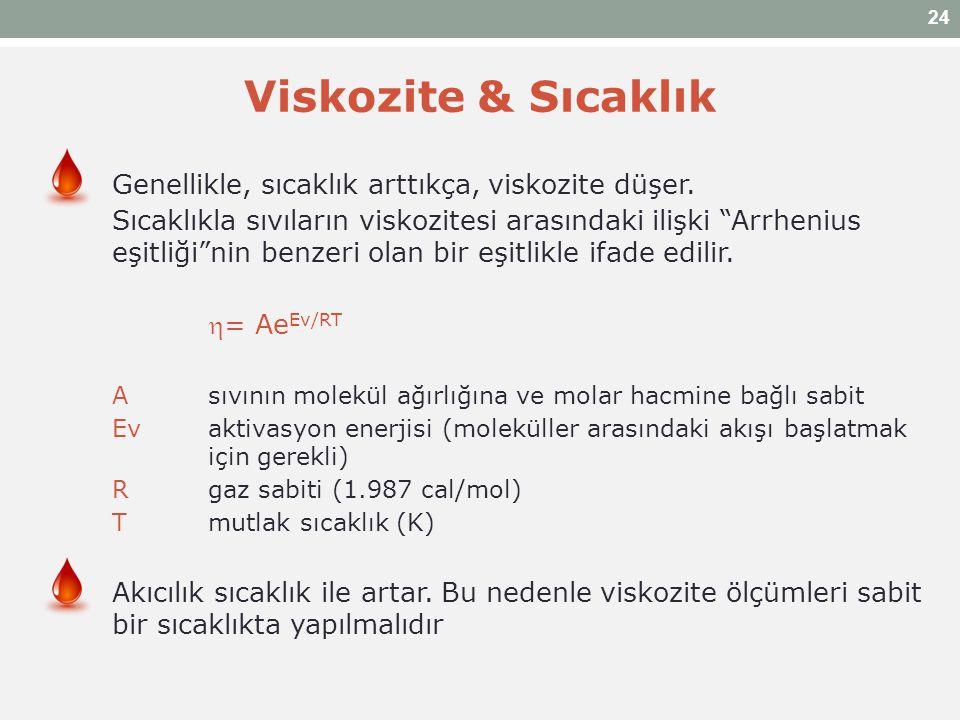 """Viskozite & Sıcaklık Genellikle, sıcaklık arttıkça, viskozite düşer. Sıcaklıkla sıvıların viskozitesi arasındaki ilişki """"Arrhenius eşitliği""""nin benzer"""