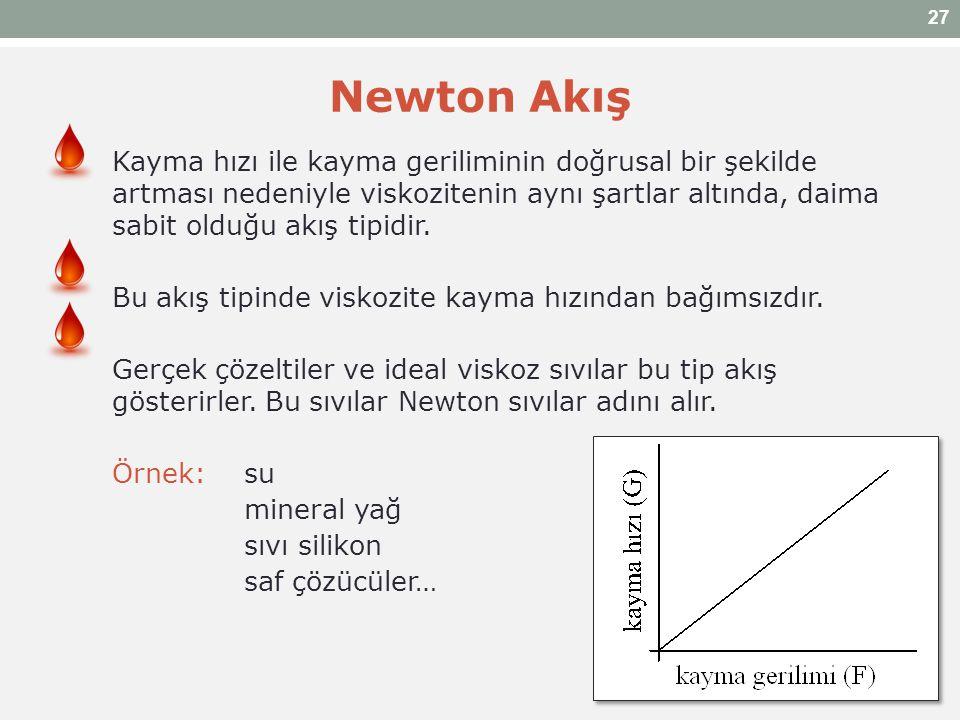 Newton Akış Kayma hızı ile kayma geriliminin doğrusal bir şekilde artması nedeniyle viskozitenin aynı şartlar altında, daima sabit olduğu akış tipidir