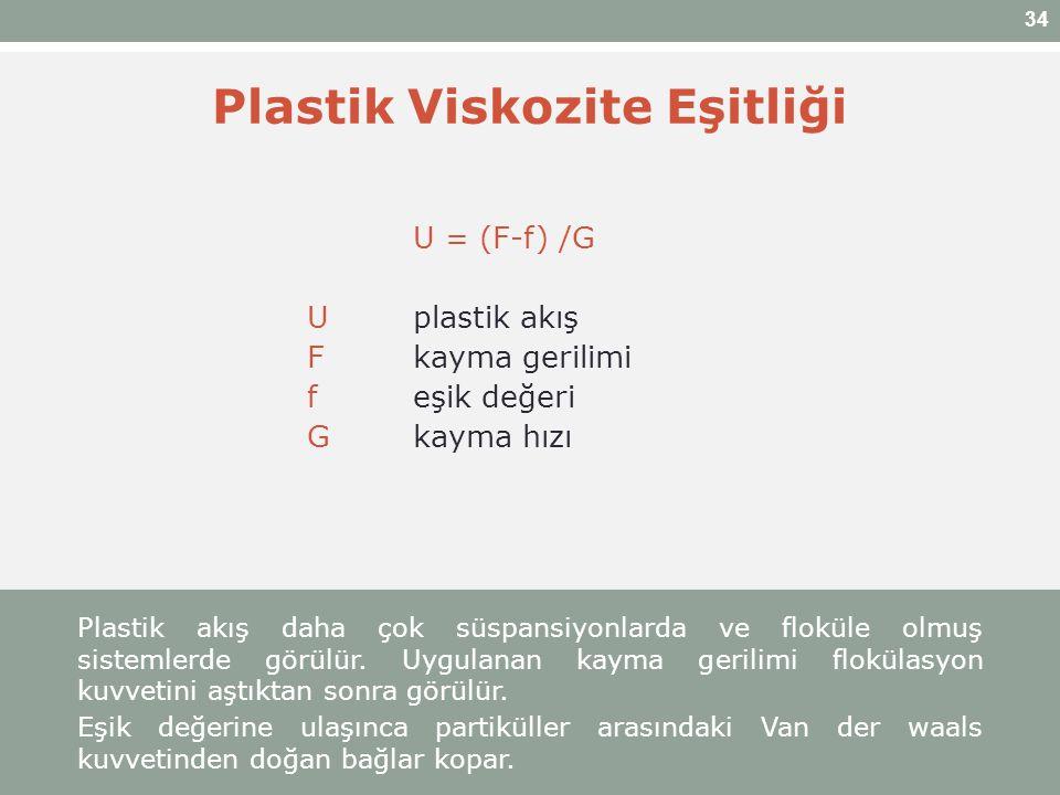 34 Plastik Viskozite Eşitliği U = (F-f) /G Uplastik akış Fkayma gerilimi feşik değeri Gkayma hızı Plastik akış daha çok süspansiyonlarda ve floküle ol
