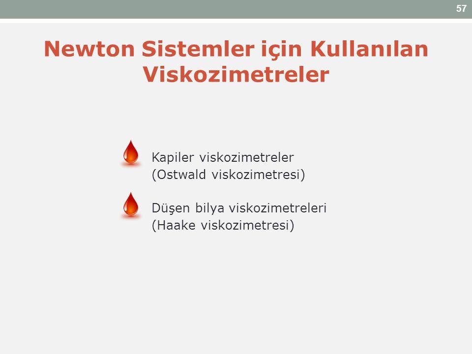 Newton Sistemler için Kullanılan Viskozimetreler Kapiler viskozimetreler (Ostwald viskozimetresi) Düşen bilya viskozimetreleri (Haake viskozimetresi)