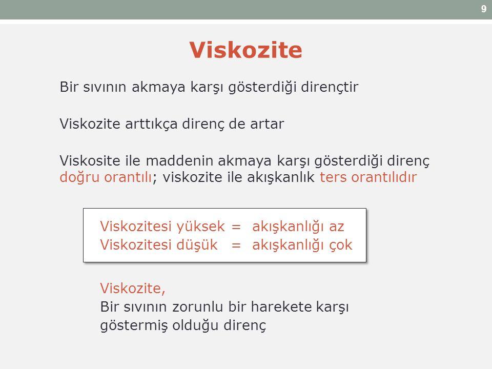 Viskozite Bir sıvının akmaya karşı gösterdiği dirençtir Viskozite arttıkça direnç de artar Viskosite ile maddenin akmaya karşı gösterdiği direnç doğru