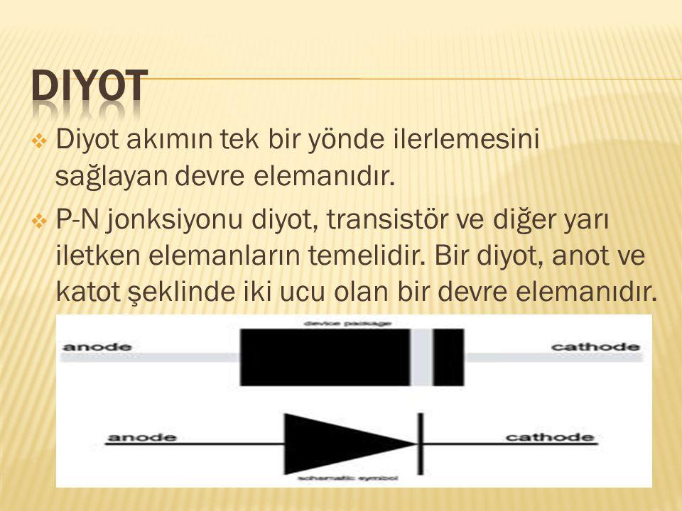  Diyot akımın tek bir yönde ilerlemesini sağlayan devre elemanıdır.  P-N jonksiyonu diyot, transistör ve diğer yarı iletken elemanların temelidir. B