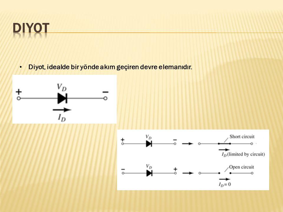Diyot, idealde bir yönde akım geçiren devre elemanıdır.