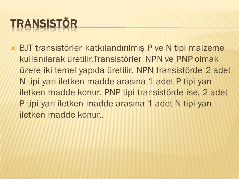  BJT transistörler katkılandırılmış P ve N tipi malzeme kullanılarak üretilir.Transistörler NPN ve PNP olmak üzere iki temel yapıda üretilir. NPN tra