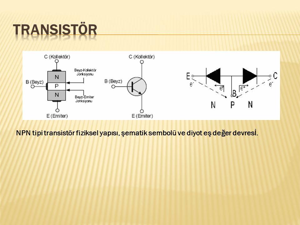NPN tipi transistör fiziksel yapısı, şematik sembolü ve diyot eş değer devresİ.