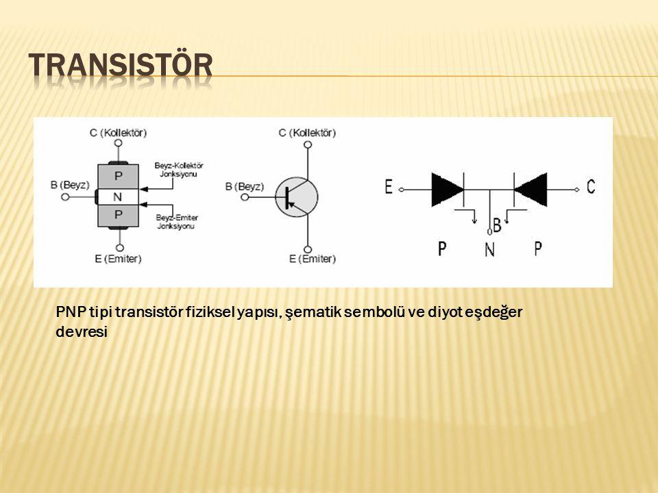 PNP tipi transistör fiziksel yapısı, şematik sembolü ve diyot eşdeğer devresi