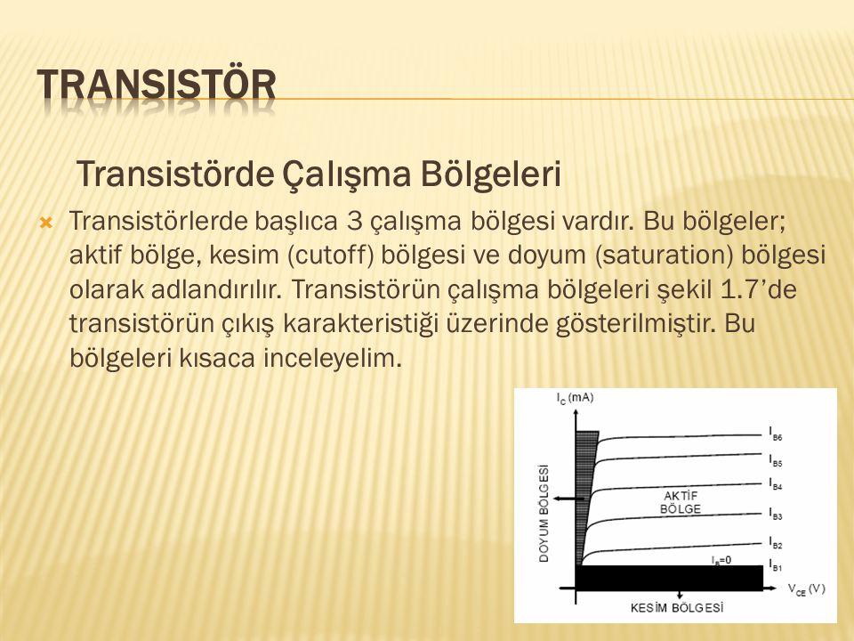 Transistörde Çalışma Bölgeleri  Transistörlerde başlıca 3 çalışma bölgesi vardır. Bu bölgeler; aktif bölge, kesim (cutoff) bölgesi ve doyum (saturati