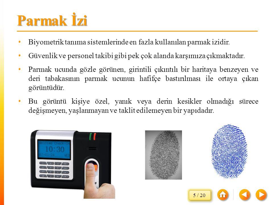Biyometrik tanıma sistemlerinde en fazla kullanılan parmak izidir. Güvenlik ve personel takibi gibi pek çok alanda karşımıza çıkmaktadır. Parmak ucund
