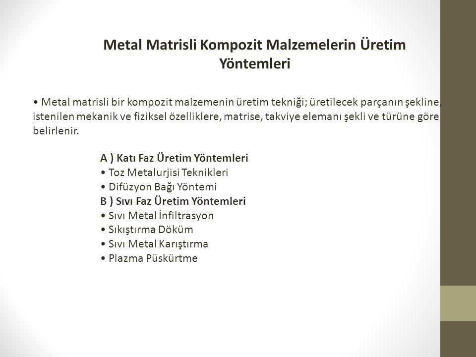 Metal Matrisli Kompozit Malzemelerin Üretim Yöntemleri A ) Katı Faz Üretim Yöntemleri Toz Metalurjisi Teknikleri Difüzyon Bağı Yöntemi B ) Sıvı Faz Ür