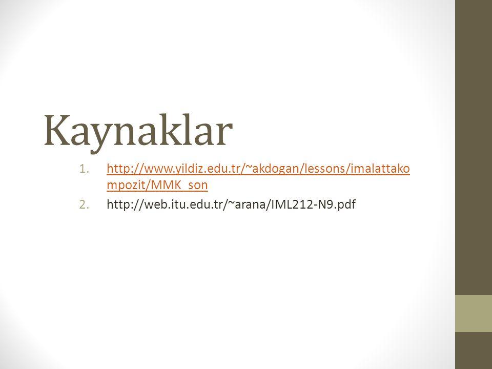 Kaynaklar 1.http://www.yildiz.edu.tr/~akdogan/lessons/imalattako mpozit/MMK_sonhttp://www.yildiz.edu.tr/~akdogan/lessons/imalattako mpozit/MMK_son 2.h