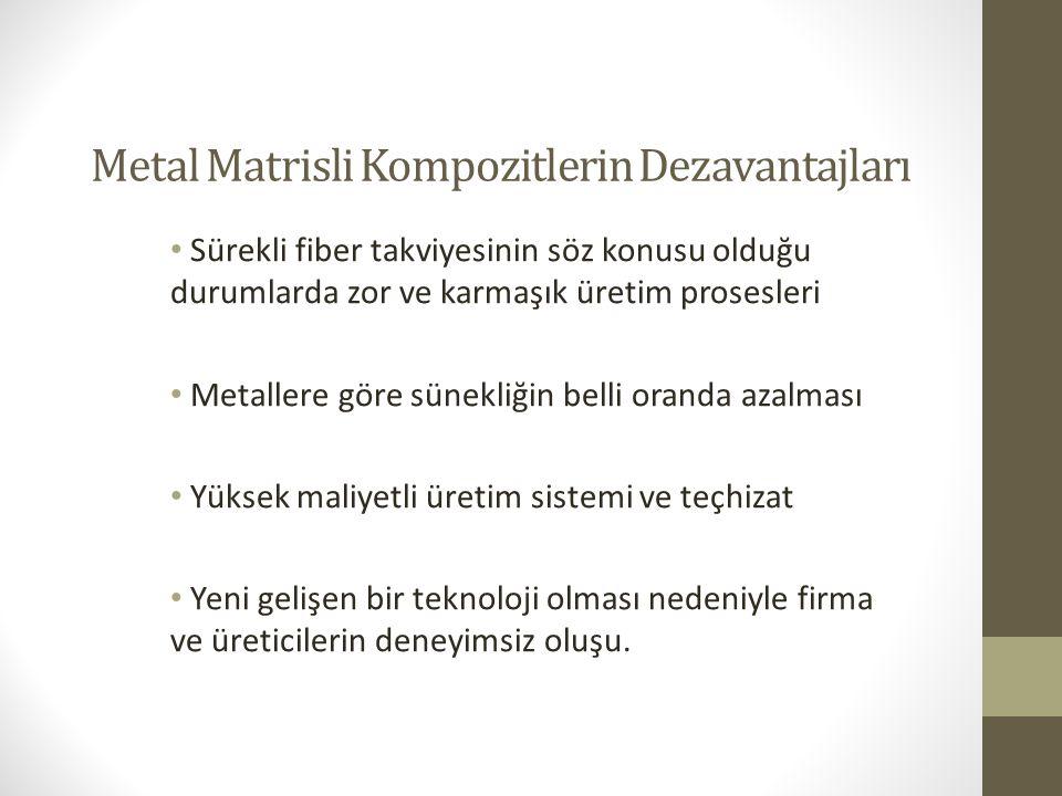 Metal Matrisli Kompozitlerin Dezavantajları Sürekli fiber takviyesinin söz konusu olduğu durumlarda zor ve karmaşık üretim prosesleri Metallere göre s