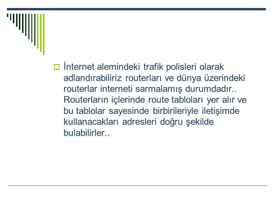  İnternet alemindeki trafik polisleri olarak adlandırabiliriz routerları ve dünya üzerindeki routerlar interneti sarmalamış durumdadır.. Routerların