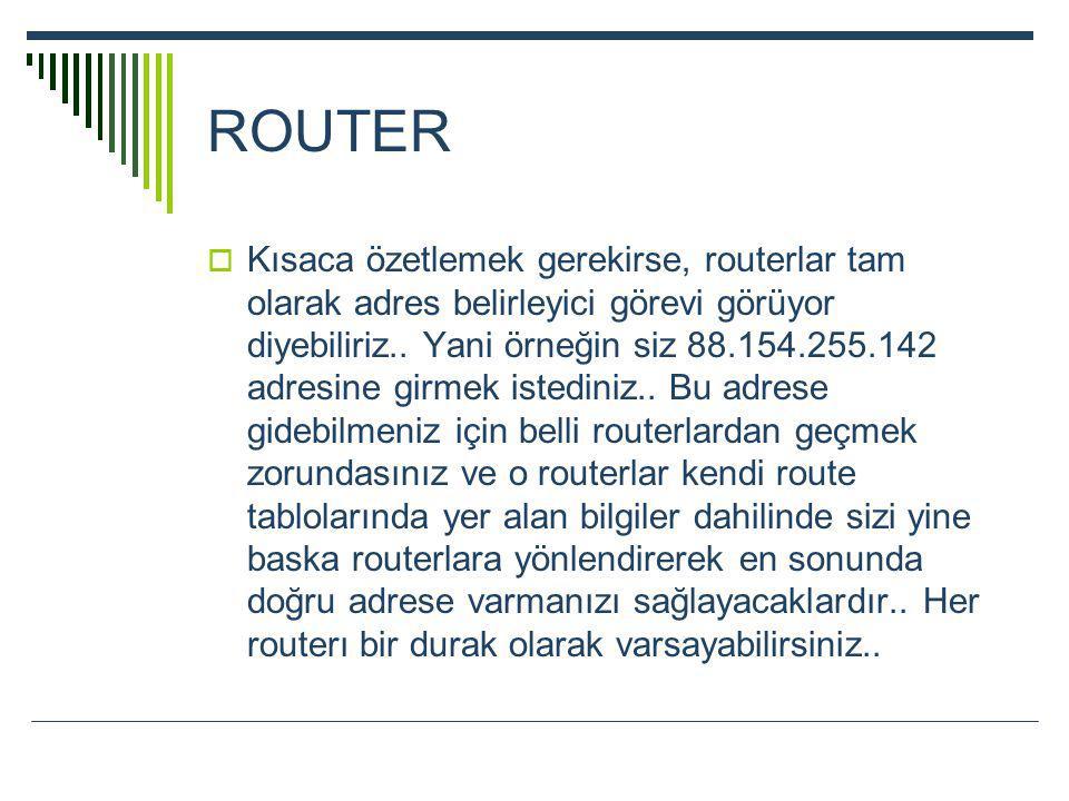 ROUTER  Kısaca özetlemek gerekirse, routerlar tam olarak adres belirleyici görevi görüyor diyebiliriz.. Yani örneğin siz 88.154.255.142 adresine girm