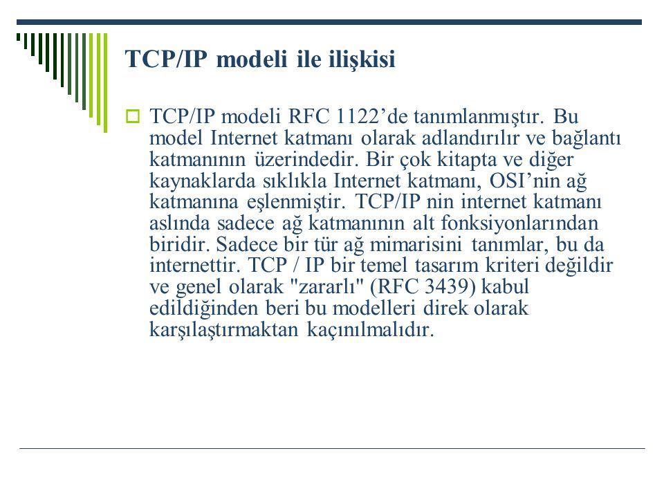 TCP/IP modeli ile ilişkisi  TCP/IP modeli RFC 1122'de tanımlanmıştır. Bu model Internet katmanı olarak adlandırılır ve bağlantı katmanının üzerindedi