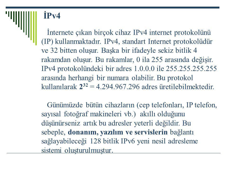 İPv4 İnternete çıkan birçok cihaz IPv4 internet protokolünü (IP) kullanmaktadır. IPv4, standart Internet protokolüdür ve 32 bitten oluşur. Başka bir i