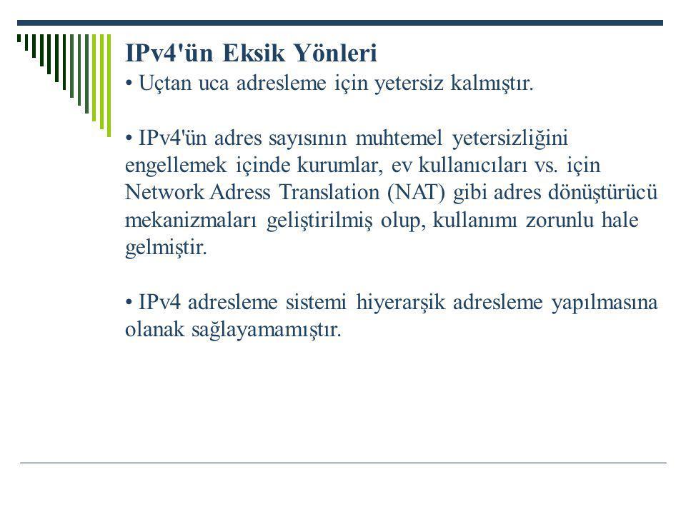 IPv4'ün Eksik Yönleri Uçtan uca adresleme için yetersiz kalmıştır. IPv4'ün adres sayısının muhtemel yetersizliğini engellemek içinde kurumlar, ev kull