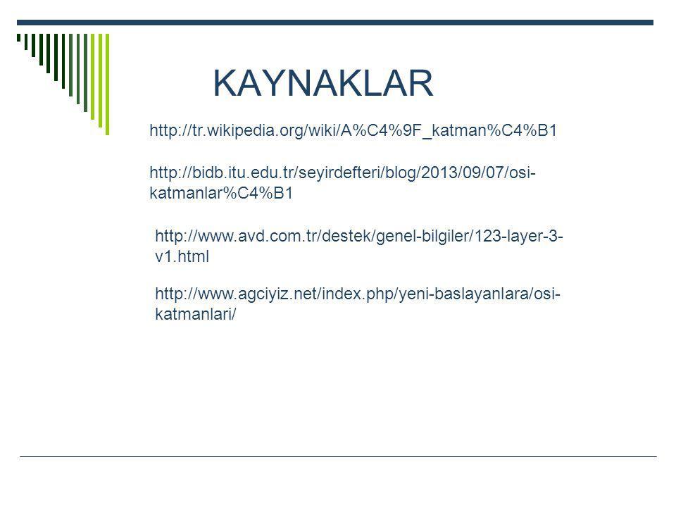 KAYNAKLAR http://tr.wikipedia.org/wiki/A%C4%9F_katman%C4%B1 http://bidb.itu.edu.tr/seyirdefteri/blog/2013/09/07/osi- katmanlar%C4%B1 http://www.avd.com.tr/destek/genel-bilgiler/123-layer-3- v1.html http://www.agciyiz.net/index.php/yeni-baslayanlara/osi- katmanlari/