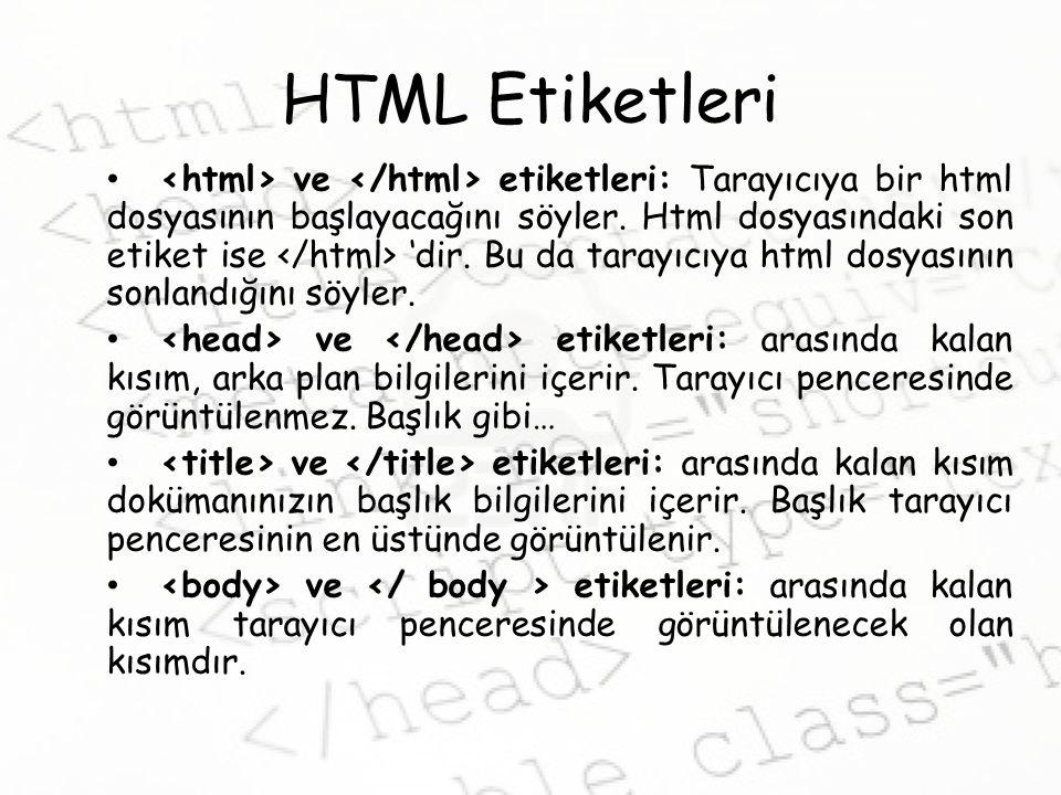 HTML Etiketleri ve etiketleri: Tarayıcıya bir html dosyasının başlayacağını söyler.