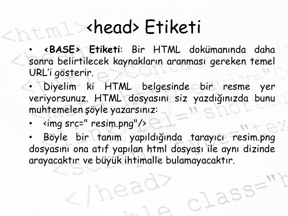 Etiketi Etiketi: Bir HTML dokümanında daha sonra belirtilecek kaynakların aranması gereken temel URL'i gösterir.