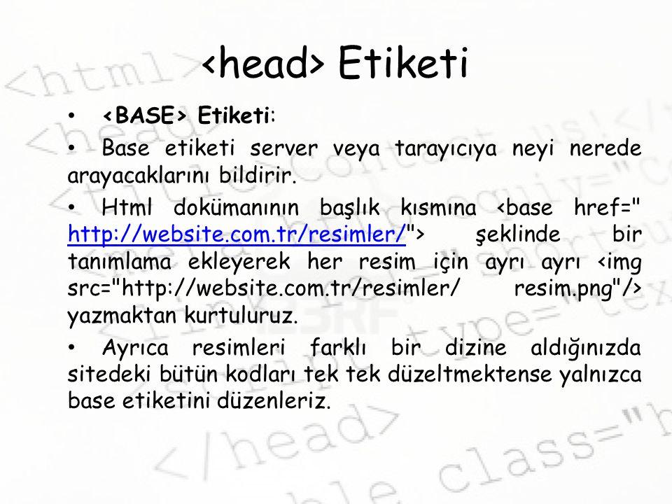 Etiketi Etiketi: Base etiketi server veya tarayıcıya neyi nerede arayacaklarını bildirir.