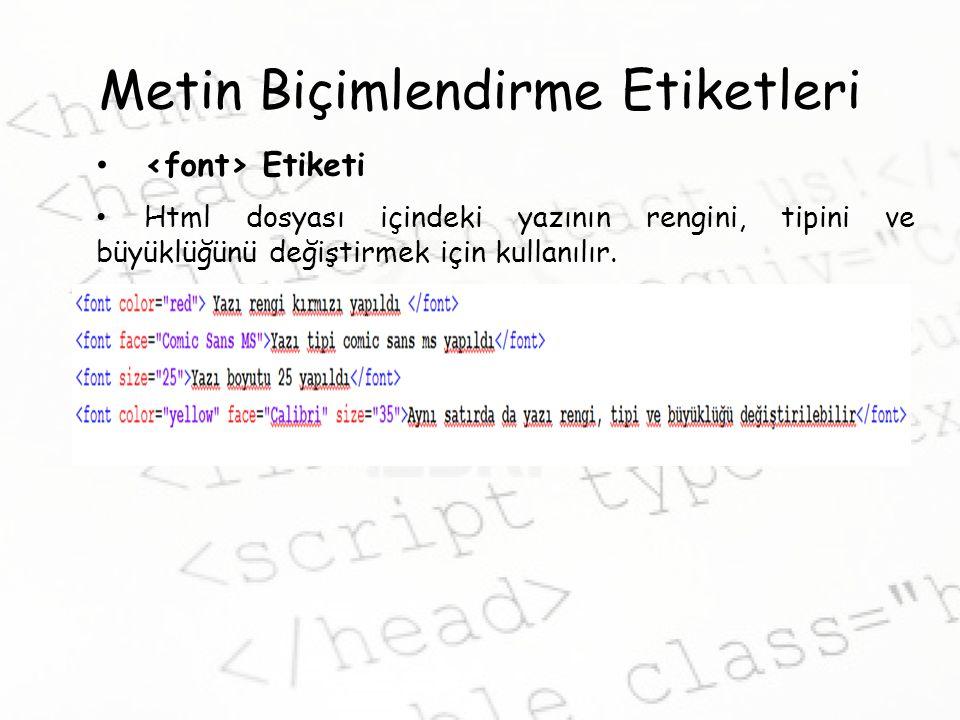 Metin Biçimlendirme Etiketleri Etiketi Html dosyası içindeki yazının rengini, tipini ve büyüklüğünü değiştirmek için kullanılır.