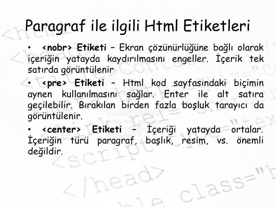 Paragraf ile ilgili Html Etiketleri Etiketi – Ekran çözünürlüğüne bağlı olarak içeriğin yatayda kaydırılmasını engeller.