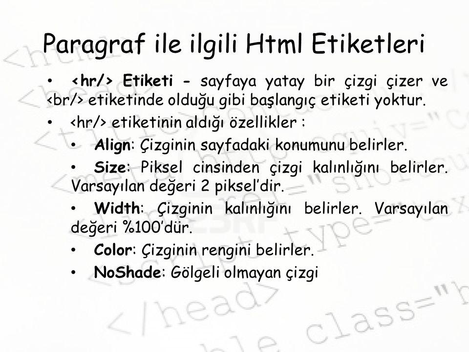 Paragraf ile ilgili Html Etiketleri Etiketi - sayfaya yatay bir çizgi çizer ve etiketinde olduğu gibi başlangıç etiketi yoktur.