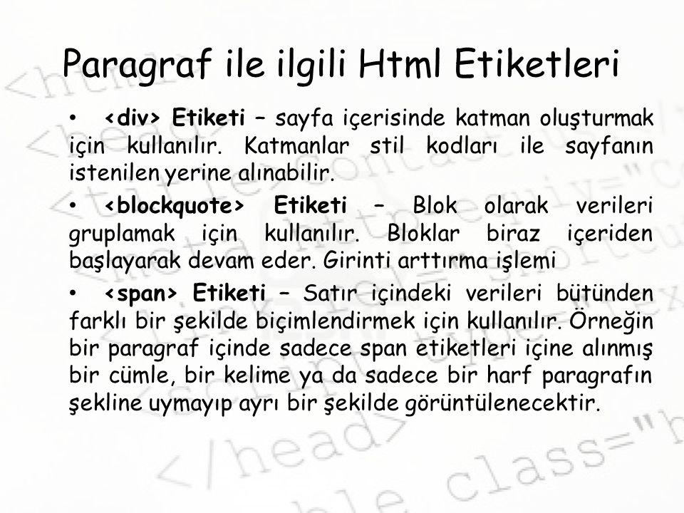 Paragraf ile ilgili Html Etiketleri Etiketi – sayfa içerisinde katman oluşturmak için kullanılır.