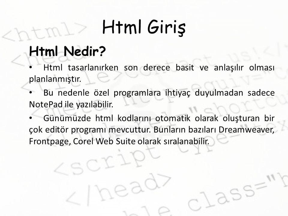 Html'de Listeleme Aşağıda çıktısı verilen sayfanın kaynak kodunu yazınız.