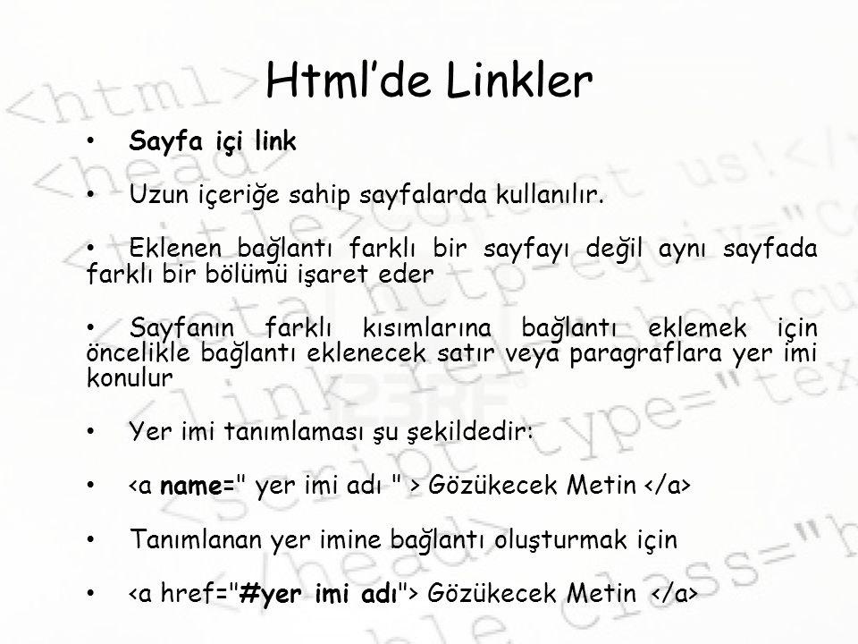 Html'de Linkler Sayfa içi link Uzun içeriğe sahip sayfalarda kullanılır.