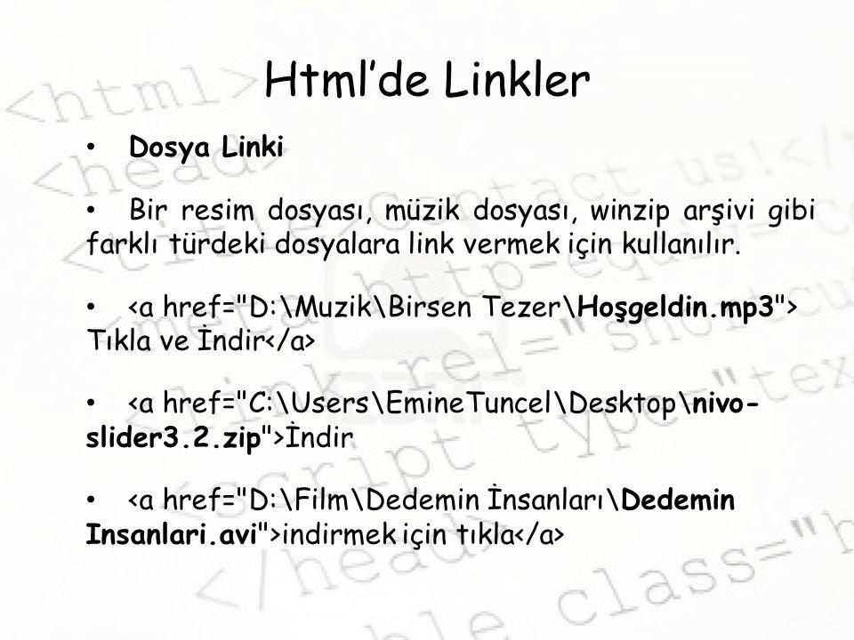 Html'de Linkler Dosya Linki Bir resim dosyası, müzik dosyası, winzip arşivi gibi farklı türdeki dosyalara link vermek için kullanılır.