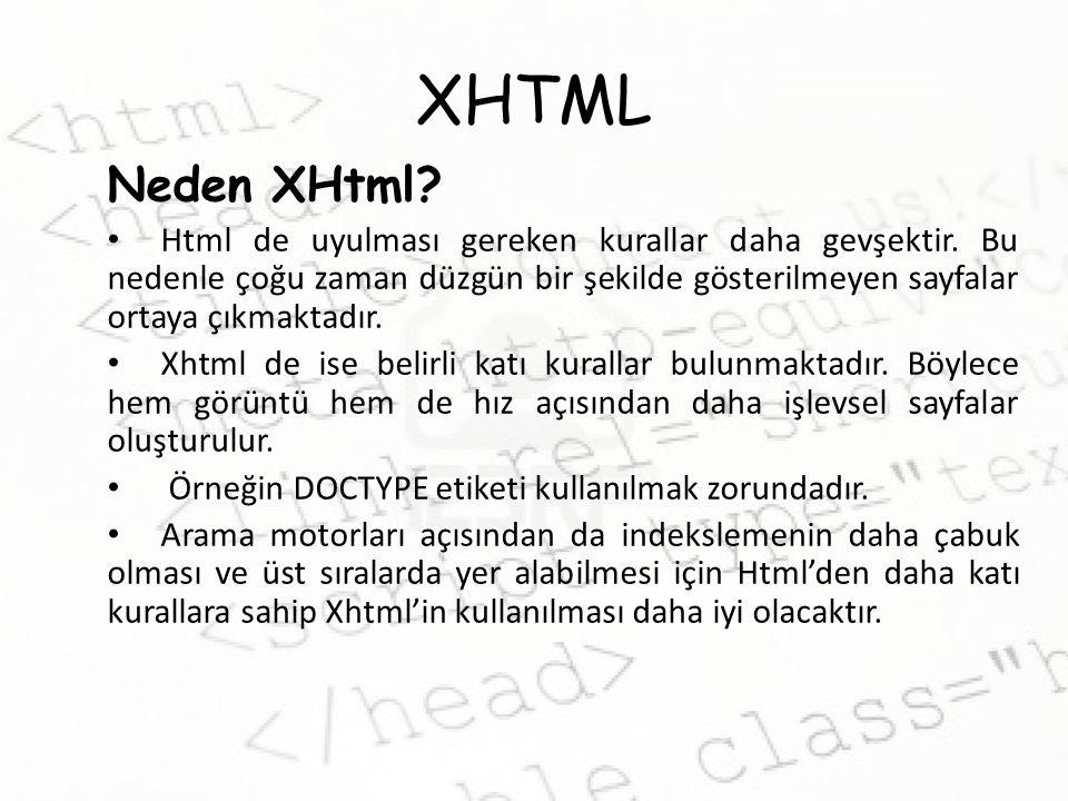 XHTML XHtml'de Uyulacak Kurallar Açılan tüm etiketler kapatılmalıdır.