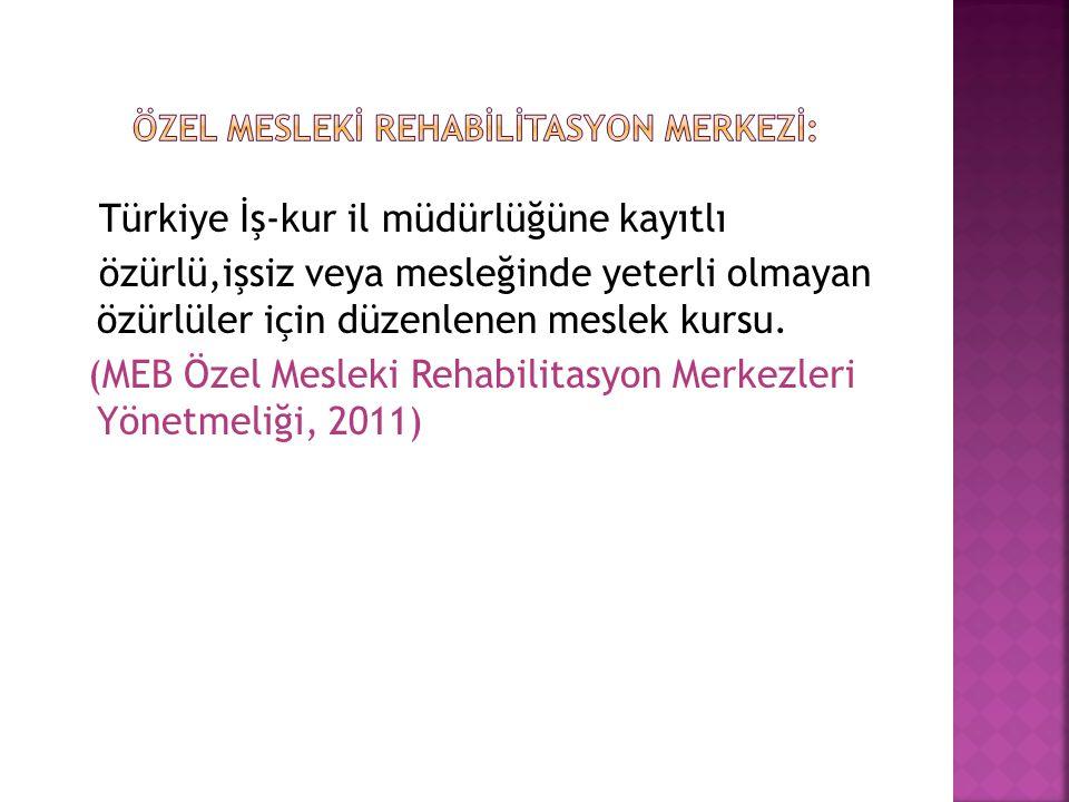 Türkiye İş-kur il müdürlüğüne kayıtlı özürlü,işsiz veya mesleğinde yeterli olmayan özürlüler için düzenlenen meslek kursu. (MEB Özel Mesleki Rehabilit
