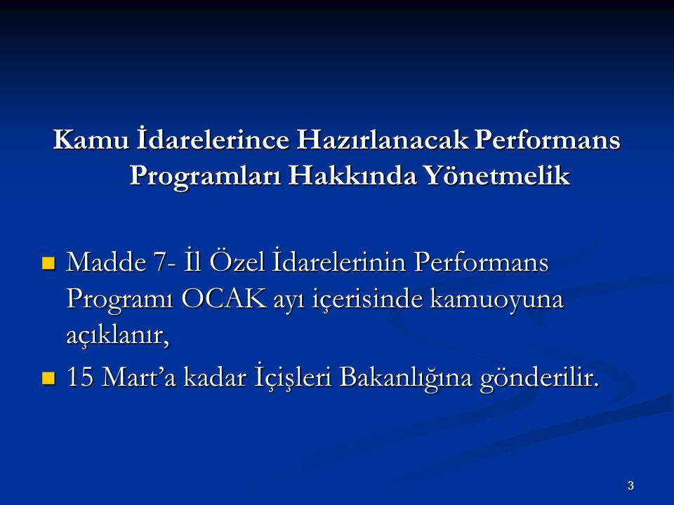 Kamu İdarelerince Hazırlanacak Performans Programları Hakkında Yönetmelik Madde 7- İl Özel İdarelerinin Performans Programı OCAK ayı içerisinde kamuoyuna açıklanır, Madde 7- İl Özel İdarelerinin Performans Programı OCAK ayı içerisinde kamuoyuna açıklanır, 15 Mart'a kadar İçişleri Bakanlığına gönderilir.